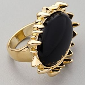 House of Harlow 1960 Black Cabachon Cocktail Ring